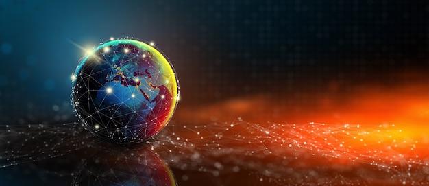 Toekomst van global social network technology met blauwe abstracte technische achtergrond. digitale, technologische en mediaconvergentie. elementen geleverd door nasa. zakelijk verbindingsconcept. 3d-weergave.