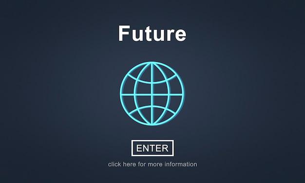 Toekomstig online technologie wereldwijd concept