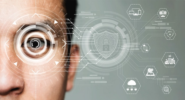 Toekomstige beveiligingsgegevens door oogscannen met biometrie.