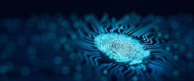 Toekomstige beveiligingstechnologie vingerafdrukscan biedt beveiligde toegang vingerafdrukbeveiliging