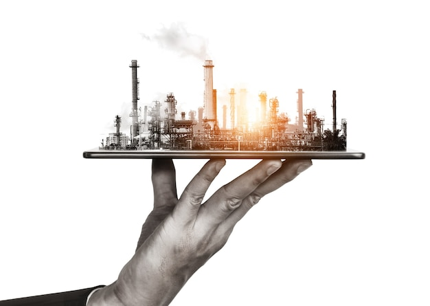 Toekomstige fabrieksinstallatie en energie-industrie concept