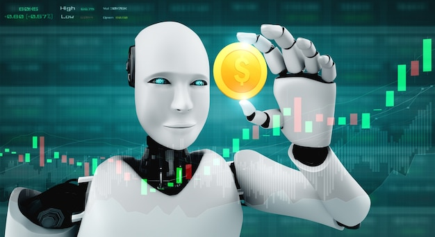 Toekomstige financiële investeringstechnologie die wordt bestuurd door een ai-robot met behulp van machine learning