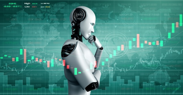 Toekomstige financiële technologie gecontroleerd door ai-robot met behulp van machine learning en kunstmatige intelligentie