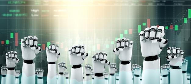 Toekomstige financiële technologie gecontroleerd door ai-robot met behulp van machine learning