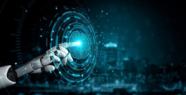 Toekomstige kunstmatige intelligentie-robot en cyborg.