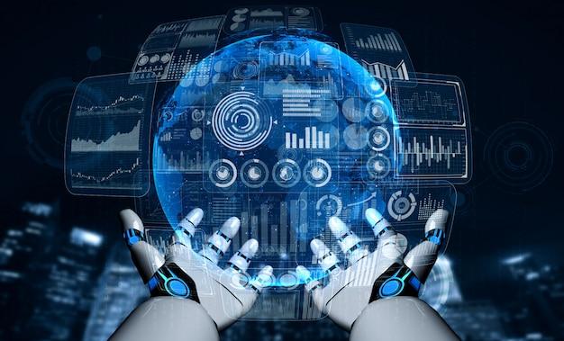 Toekomstige kunstmatige intelligentie robot en cyborg.