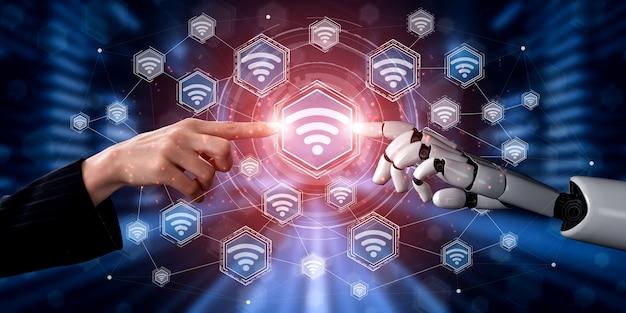 Toekomstige kunstmatige intelligentierobot en cyborg.