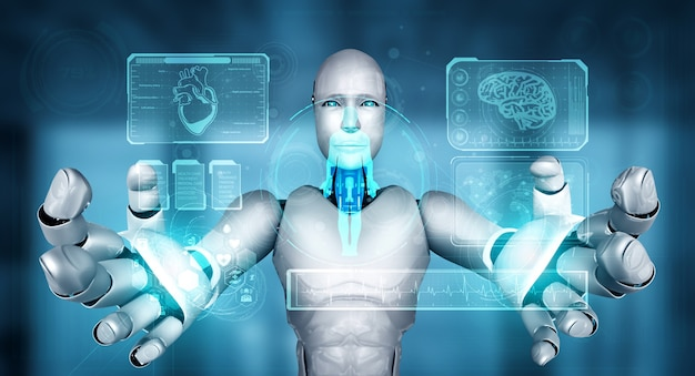 Toekomstige medische technologie bestuurd door ai-robot met behulp van machine learning