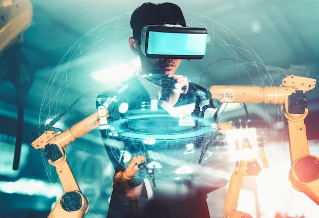 Toekomstige vr-technologie voor robotarmbesturing in de industrie