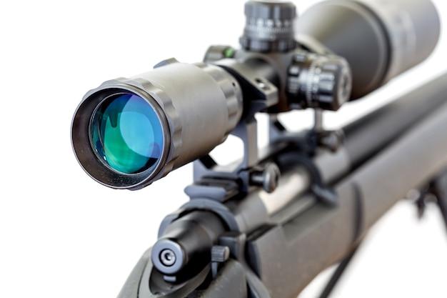 Toepassingsgebied met sluipschuttergeweer op witte achtergrond
