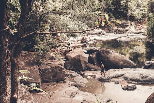 Toerist loopt door het bos