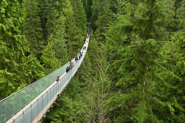 Toeristen kijken naar het uitzicht vanaf de capilano-brug, in de buurt van vancouver