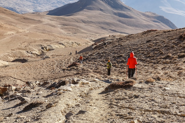 Toeristen wandelen in de bergen. himalaya, nepal.
