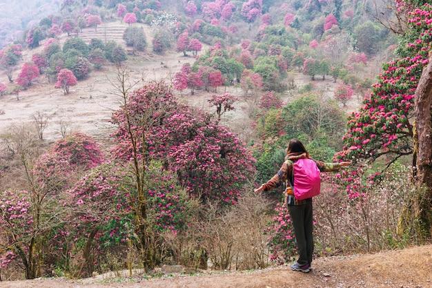 Toeristische meisje op de achtergrond van bloeiende rododendrons in de himalaya, nepal