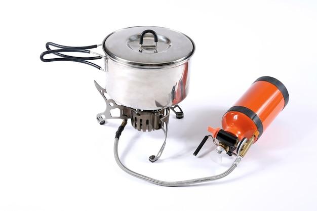 Toeristische metalen pan met brander voor meerdere brandstoffen