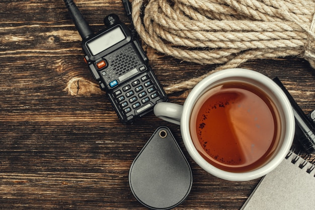 Toeristische set met walkie talkie