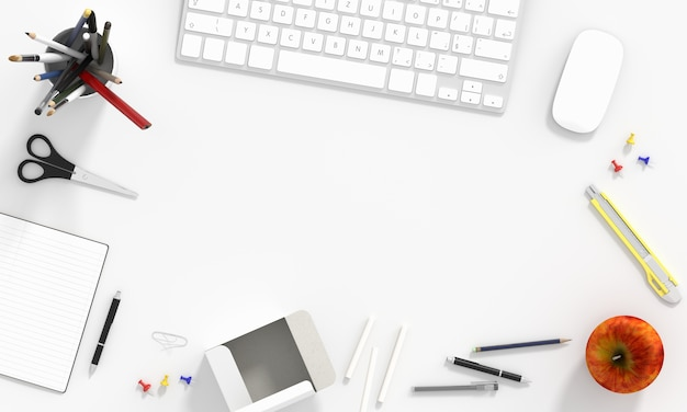 Toetsenbord en muis op witte achtergrond en lege ruimte voor model
