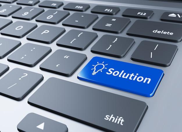Toetsenbord met oplossingenknop. computertoetsenbord met oplossingenknop. 3d illustratie