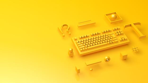 Toetsenbord op gele achtergrond plat liggend bovenaanzicht