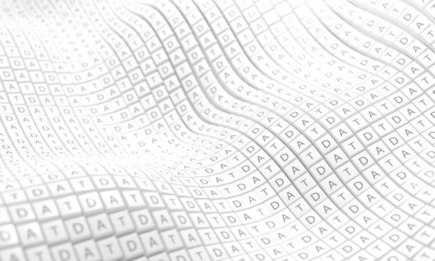 Toetsenbordknoppen met letters die worden gelezen terwijl de gegevens in een golvend patroon met elkaar zijn uitgelijnd.
