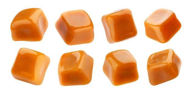 Toffee snoep, karamel snoep geïsoleerd op een witte achtergrond met uitknippad, collection