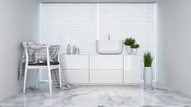 Toilet witte toon in appartement of hotel - 3d-rendering
