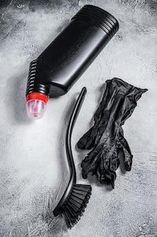 Toiletreinigingsbenodigdheden in zwarte stijl, schoonmaak