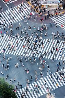 Tokyo crossroad met ariel view