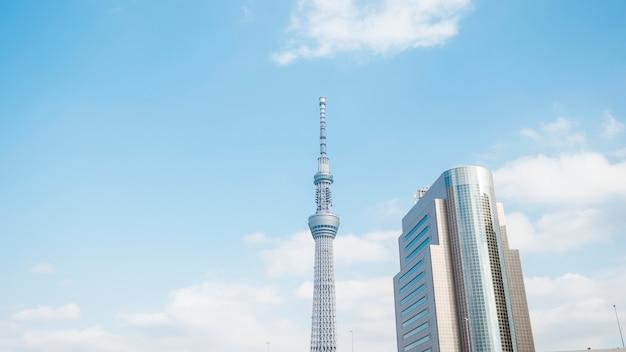 Tokyo, japan: 20 februari 2018: tokyo skytree wit blauwe hemel