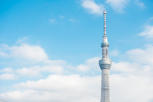 Tokyo skytree witte blauwe hemel