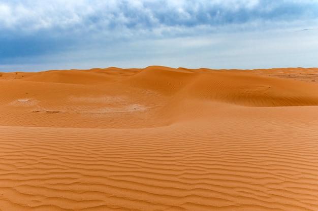 Toneel mening van zandduinen of barchans van woestijn in kalmukkië, rusland