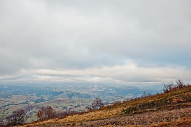 Toneelmening van de rode en oranje bossen die van de bergherfst door mist bij karpatische bergen op de oekraïne, europa behandelen.