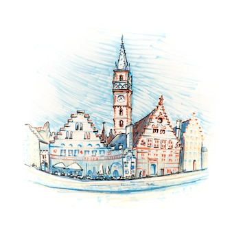 Toneelstadsmening van gent-kanaal met mooie middeleeuwse huizen, belgië. foto gemaakte markeringen