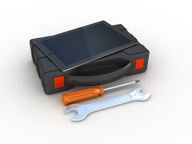 Tools op tablet-pc. 3d illustratie