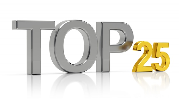 Top 25. beste vijfentwintig lijst.