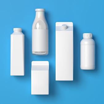Top bekeken 5 soorten blanco melkverpakkingen in één exemplaar op het blauwe oppervlak. 3d-afbeelding