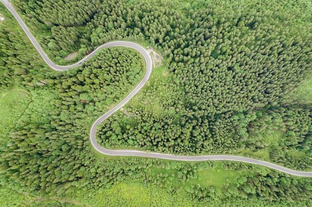 Top-down luchtfoto van kronkelende bosweg in groene berg nette bossen.