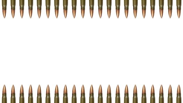 Top en down kogels grenzen op witte muur. 7,62 mm patronen voor aanvalsgeweer