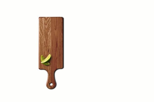 Top-up weergave houten snijplank geïsoleerd op wit. geschikt voor uw ontwerpelement.