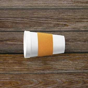 Top-up weergave van koffiekopje met papieren handvat geïsoleerd op houten achtergrond.