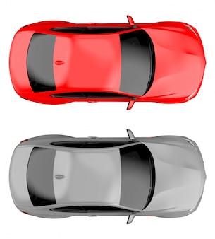 Top van twee moderne generieke merkloze auto's