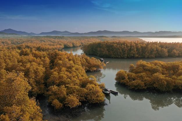 Top view tropical island, luchtfoto eiland groen bos op phang nga bay.