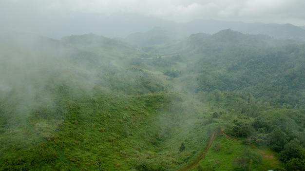 Topview berg en mist