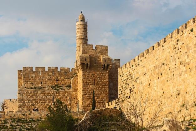Toren van david en stadsmuur, jeruzalem, israël