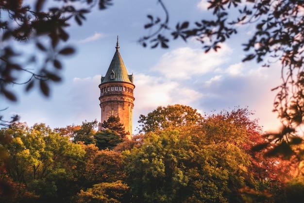 Toren van de bank van luxemburg, omringd door bomen