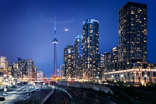 Toronto skyline in de nacht