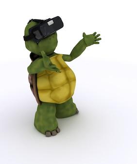 Tortoise having fun playing
