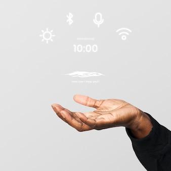 Tot een kom gevormde hand die hologramtechnologie toont