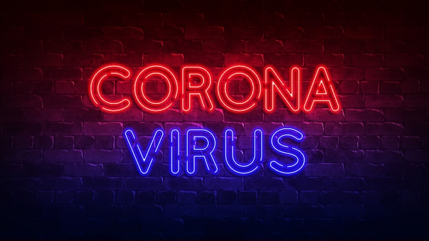 Totaalconcept geneeskunde concept. coronavirus. geneeskunde ziekte ziekte. neon bord. rode en blauwe gloed. neon tekst. 3d render