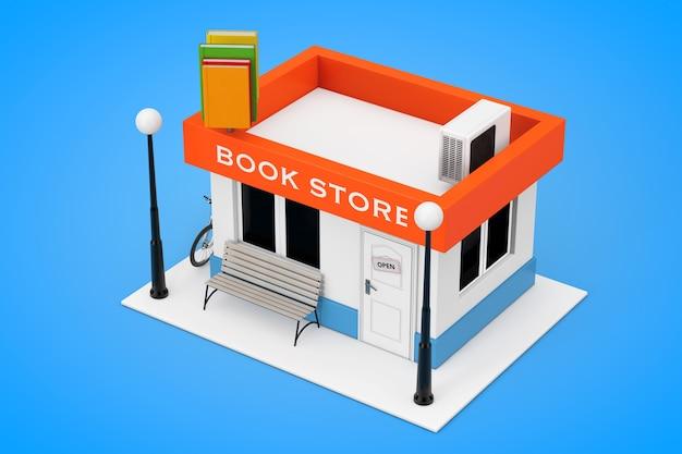 Toy cartoon book shop of book store building facade op een blauwe achtergrond. 3d-rendering